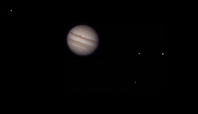 Jupiter with Galilean moons, unlabeled