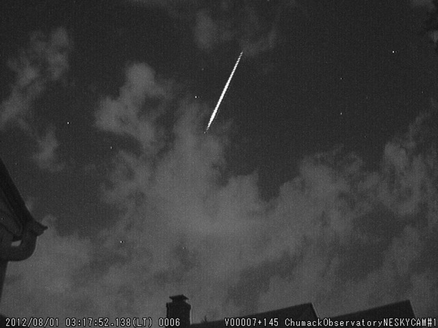 Fireball Meteor 08-01-12 with clouds